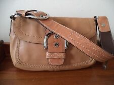 COACH tan leather shoulder bag with back pocket