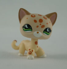 LPS Littlest Pet Shop 852 Moon Green Eyes Tan Brown Spotted Short Hair Cat