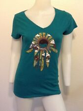 NEW! LUCKY BRAND TEAL HAMSA HAND OF FATIMA PEACE HIPPIE T-SHIRT TOP URBAN  S