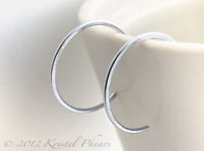 """Small Sterling Silver Hoops - reverse hoop earrings .925 simple  3/4"""" 20mm"""