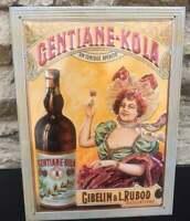 """Plaque publicitaire en tôle lithographiée """"Gentiane Kola"""""""