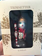 "Trimsetter Hand Painted Blown Glass ""Snowman ""Christmas Ornament NIB"