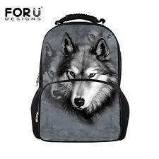 Gray Animal Wolf Backpack Mens School Bag Rucksack Durable Bookbag for Teenagers