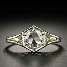 Cut Moissanite Ring 925 Sterling Silver Yellow Finish 1.57 Ct Off White Rose