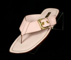 LOUIS VUITTON Powder Pink Leather Buckle Detail Flat Thong Sandals 36.5