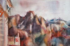 Vintage watercolor drawing impressionist landscape