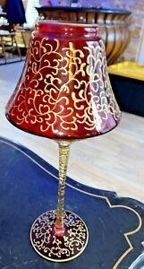 VTG TEA LIGHT CANDLE HOLDER  & Gilded Art Cranberry Glass   Pedestal  MBC