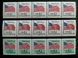US Stamp 2891 & 2893 plate number coil strips of 5  MNH