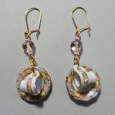 Handmade Pierced Dangle Earrings Teacups & Saucers Pink Heart & Seed Beads