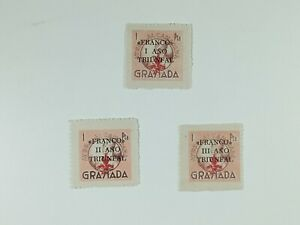 Lote 3 Sellos Locales Guerra Civil Ayuda Al camarada Granada sobrecarga I,II,III