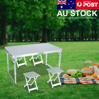 PICNIC SET FOLDING ALUMINIUM CAMPING TABLE AND CHAIRS WITH 4x BENCH SEATS