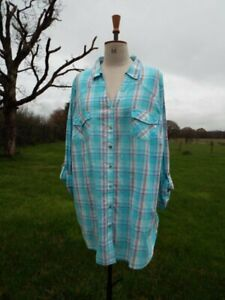 Turquoise Mix Check Button Through Cotton Shirt Top EVANS Plus Size 30 BNWT