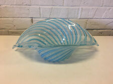 Vintage Italian Murano Unusual Form Blue Latticino Art Glass Centerpiece / Bowl
