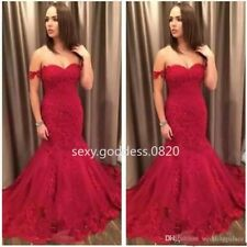 Red Off Shoulder Lace Appliques Prom Party Gown Mermaid Quinceanera Dress Custom