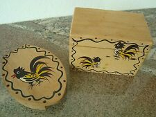 WOODPECKER WOODWARE METLOX ROOSTER HAMBURGER PRESS RECIPE CARD BOX COTTAGE/CABIN