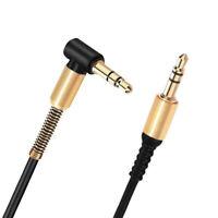 Nylon trenzado Right Angle Macho a macho Cable de audio de 3,5 mm Aux Cable