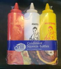 Classic Diner Style Condiment Squeeze Bottles Set Mustard Ketchup Mayo 3pk (AB2)