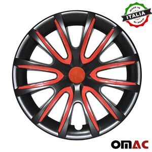 """15"""" Inch Hubcaps Wheel Rim Cover For Nissan Glossy Black  Red Insert 4pcs Set"""
