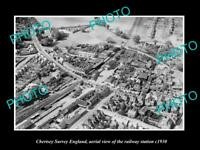 OLD LARGE HISTORIC PHOTO OF CHERTSEY SURREY ENGLAND, AERIAL VIEW OF RAILWAY 1930