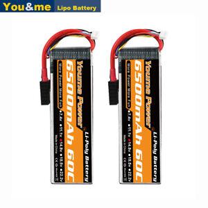 2pcs 14.8V 4S 6500mAh LiPO Battery for RC Traxxas 8S X-Maxx Maxx Desert Racer