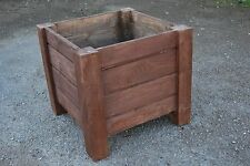 Large Squre Wooden Pot 44x44x40 cm of Solid Wood Spruce in Rusty Color