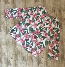 Tu Green Pink Floral Summer Blouse Top ~Size 16~Long Sleeve Loose Fit Casual