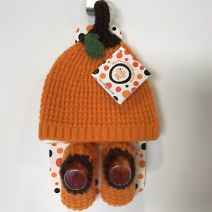 Fall Autumn Pumpkin Baby Hat & Booties Thanksgiving Holiday Costume 0-12M NEW