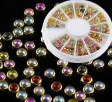 3D Nail Art Tips Pearls Studs Glitter Rhinestone Decoration+Wheel CH 100pcs