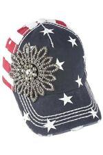 Olive & Pique NWT Rhinestone BLING Flower Stars and Stripes Baseball Hat