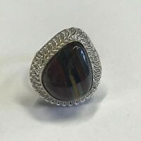 RARE VINTAGE ESTATE FIND SIGNED STERLING SILVER RING W/BROWN & BLUE BEAD