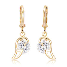 Womens Heart Dangle Hoop Earrings Crystal Jewelry Lucky Earings Wholesale