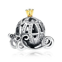 New 925 Sterling Silver Disney Cinderella's Pumpkin Carriage Coach Charm Pandora