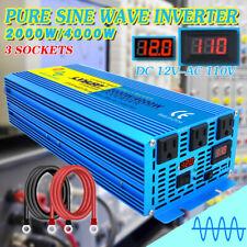 2000W 4000W pure sine wave power inverter 12V Dc to 110V 120V Ac Volt Converter