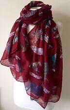 BNWT Wine Red Horse Print Equine 180x100cm Large Scarf Shawl Sarong Headscarf