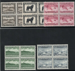 1932-37 Newfoundland. UNI/SC#193-197. Mint, Never/Lightly Hinged, VF Blocks of 4