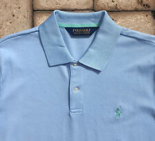 Polo Ralph Lauren Golf Shirt Mens M Blue w/Green Pony Pima Cotton Blend NEW $89