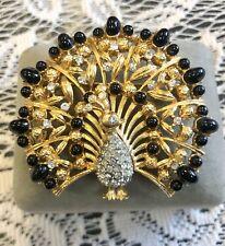 Vintage Lisner Peacock Gold Black Rhinestone Brooch