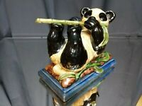 LARGE PLAYFUL PANDA! Vintage Chinese Porcelain or Clay Figurine Sculpture Statue