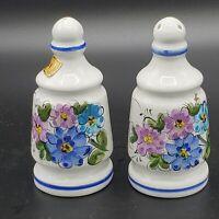 Vintage Portugal Ceramic Goldish Brown Salt & Pepper Shakers Blue Pink Floral