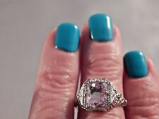 2.38 Ct. Emerald Cut Pink Kunzite Filigree Sterling Silver Ring Free Sizing