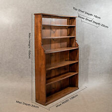 Antique Oak 5' Waterfall Open Bookcase Display Shelves Quality Victorian c1870