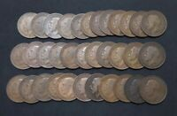 LOT OF 34 LARGE GREAT BRITAIN KING GEORGE V ONE PENNY COPPER COINS 1911 to 1921