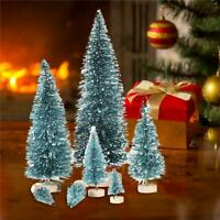7psc Mini Sisal Bottle Brush CHRISTMAS TREES Snow Frost Village Xmas Decor