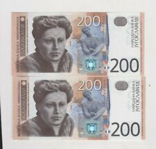 More details for two consecutive 2001 p157a yugoslavia 200 dinar banknotes in mint conditon.