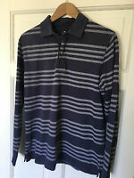 Men's Medium Blue Stripe Long Sleeve Polo Shirt