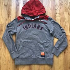 Men's Nike Cleveland Indians Heather Gray Red Hoodie Pullover Sweatshirt Sz L