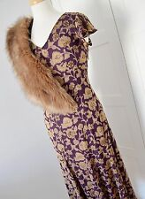 1930'S inspired BROCADE silk gown EVENING DRESS cruise wedding GOLD PURPLE uk 10