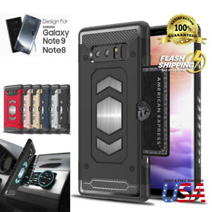 Body Armor For Galaxy S9 Note 9 8 S9+ Case Card Holder Slot Car Magnetic Cover