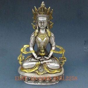 Chinese Silver Bronze Gilt Tibetan Buddhism Statue - White Tara Buddha