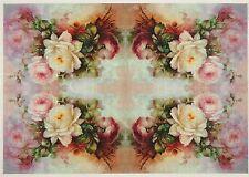 Carta di riso colorato Piccole Rose Bouquet Per Decoupage Scrapbook Craft sheet